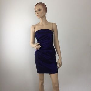 Cache Embellished Strapless Ruched dress In Purple